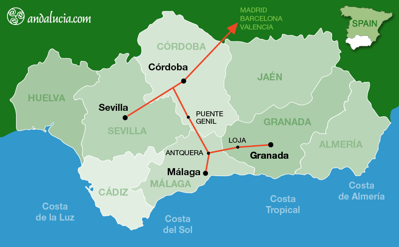 Map Of Spain Train Routes.Granada To Antequera Ave High Speed Long Distance Trains Ave