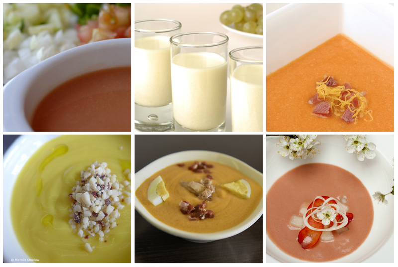 Gazpacho, Ajo Blanco, Salmorejo, Orange Porra, Porra a  © Michelle Chaplow