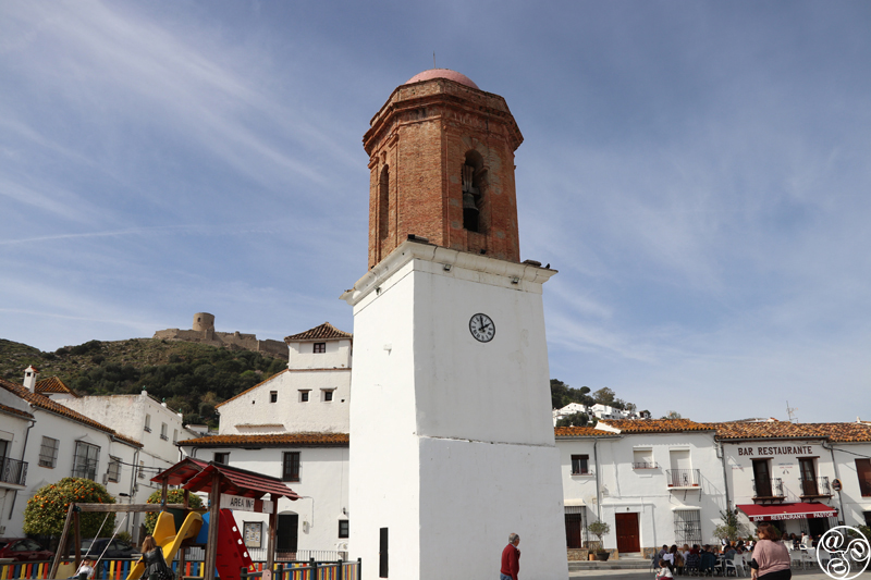 View of the Bell Tower in Plaza de la Constitución, the main village square