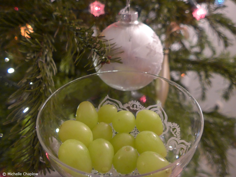 12 lucky grapes, one for each month of the forthcoming year. © Michelle Chaplow