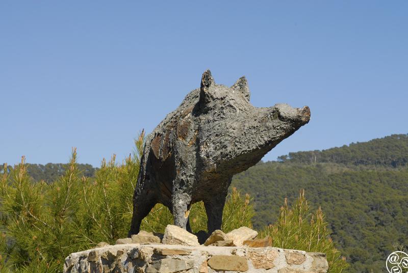 A statue to the wild boar in the Montes de Malaga