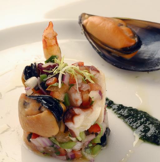 Salpicón de marisco. Seafood Salad © Michelle Chaplow