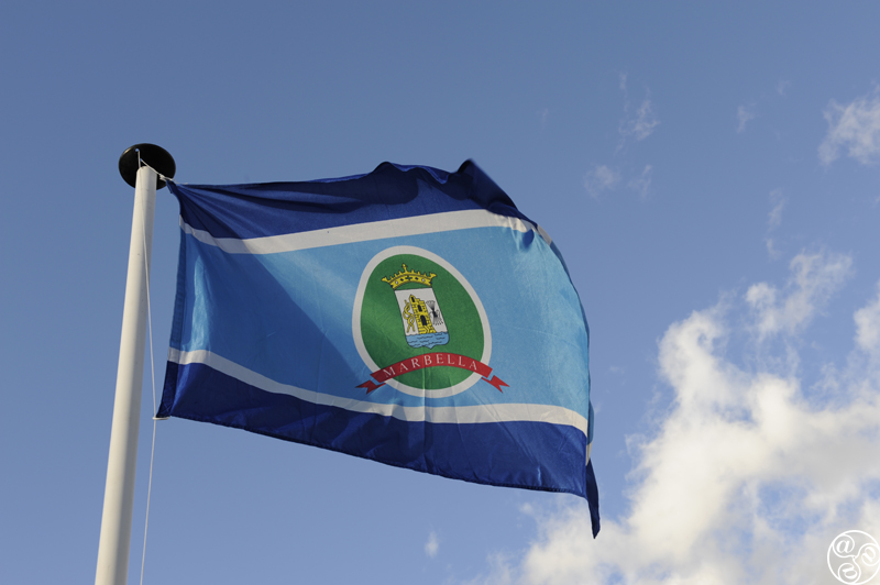 The Marbella town flag flying high © Michelle Chaplow