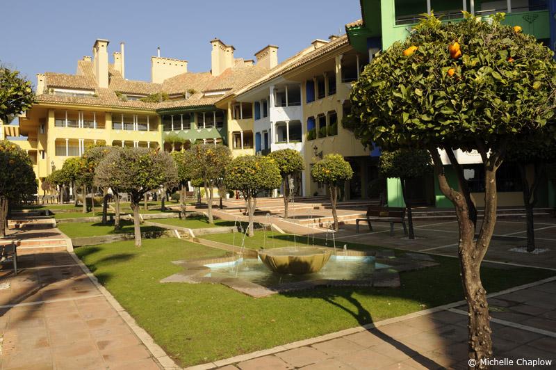 Attractive architecture and gardens in Sotogrande marina.