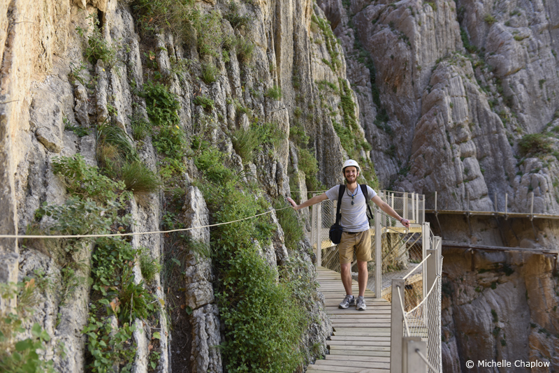 Barcley Spicer - Jenkins loving the Camino del Rey  © Michelle Chaplow