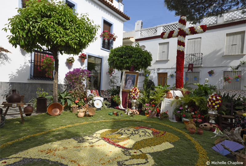 Floral Crosses and carpets in the Plaza Begines, Estepona © Michelle Chaplow