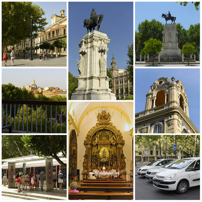 Photos Clockwise. Seville town hall, Statue of King Fernando © Michelle Chaplow