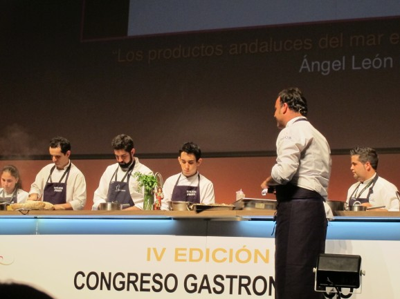 Angel Leon with the team from his restaurant, Aponiente - a well-oiled machine.