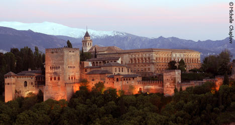 The magnificent Alhambra at sunset. The jewel of Granada.