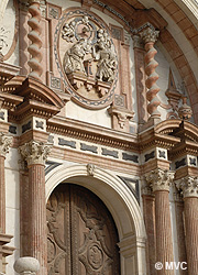 Ornate Stonework on the façade of Malaga Cathedral