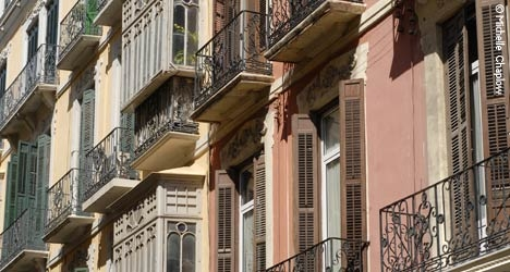 Ornate balconies in the old town of Malaga. © Michelle Chaplow