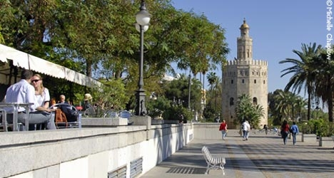 Seville city walls had 166 watchtowers and nine gates, the Torre de Oro can still be seen today. © Michelle Chaplow