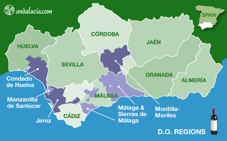© andalucia.com Map of Andalucia wine regions