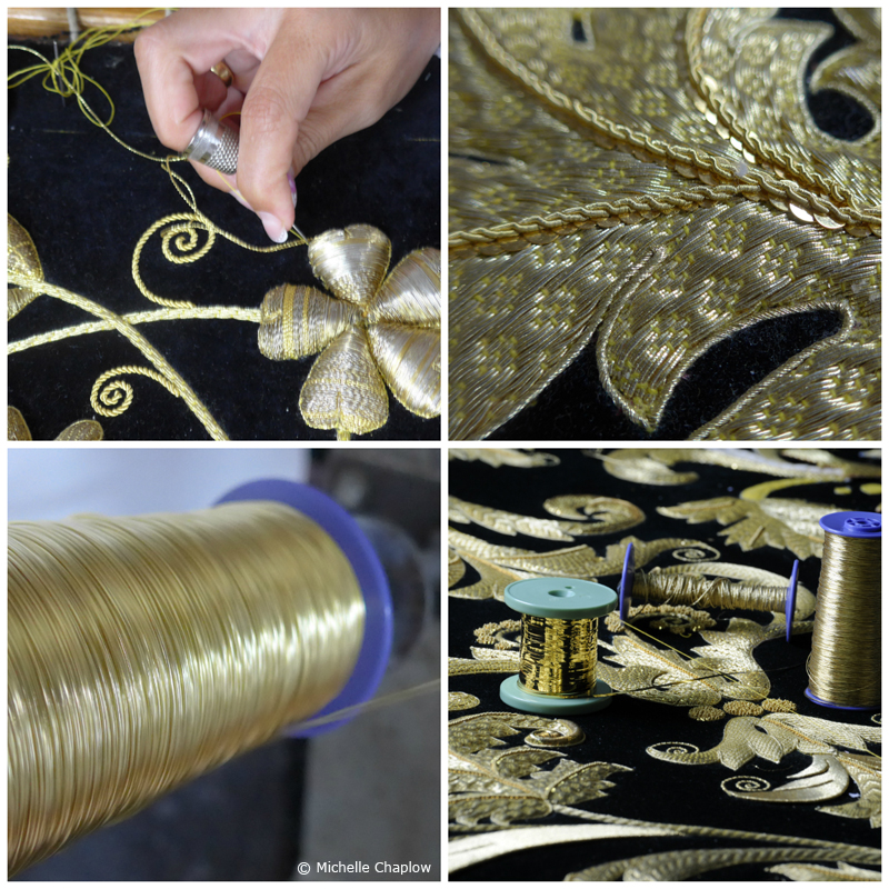 Pure gold embroidery is a work of art.  © Michelle Chaplow