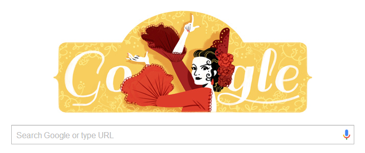 Lola Flores birth date tribute on google.es on 21 January  2016 © Google