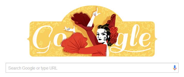 Lola Flores birth date tribute on google.es on 21 January  2016 © Google