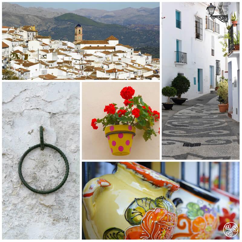 Malaga villages clockwise: Algatocin, Frigiliana, Mijas, Almo © Michelle Chaplow
