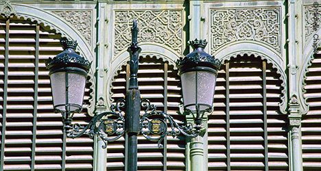 © Michelle Chaplow Street lamp outside Malaga Market place