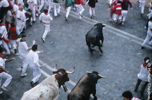 The Running of the Bulls is part of the Fiesta de San Fermin in Pamplona. © Michelle Chaplow