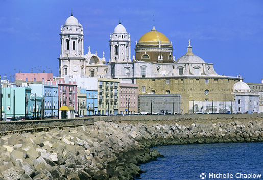The golden dome of Cadiz cathedral shimmers in the Andalucian sun. © Michelle Chaplow .
