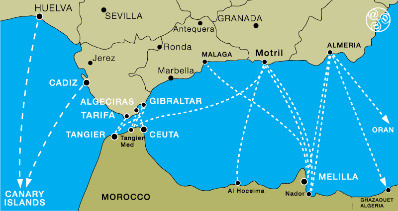 Map of all the ferry routes from Andalucia to North Africa and Canary Islands ©andalucia.com