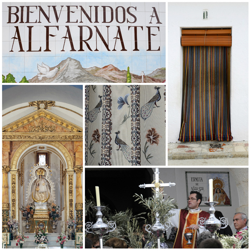 Welcome to Alfarnate, Ornate outer door curtains, Hermiage church, Ermita de Nuestra Señora de Monsalud, holy week in Alfarnate.  ©Michelle Chaplow