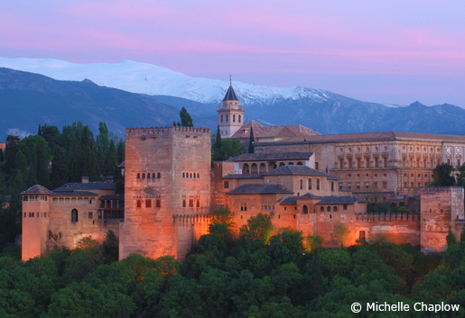 The Alhambra and the backdrop of the magnificent Sierra Nevada mountain range. © Michelle Chaplow