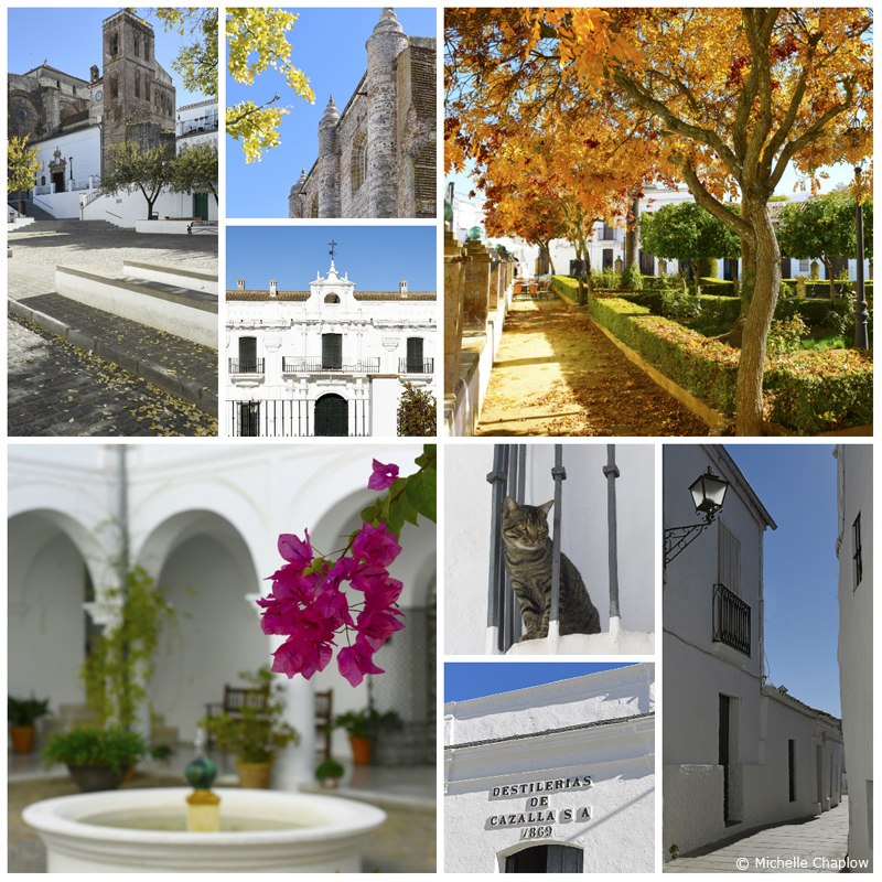 Cazalla de la Sierra, clockwise: Plaza Major, parish church, court-house, Plaza del Dr. Nosea, village street, Distillery de Cazalla, Town hall patio.  ©Michelle Chaplow