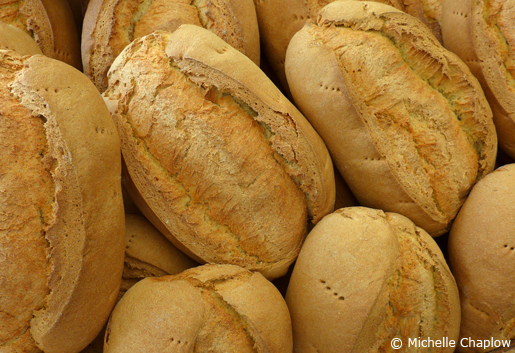 Freshly baked Spanish loafs of Bread. © Michelle Chaplow .