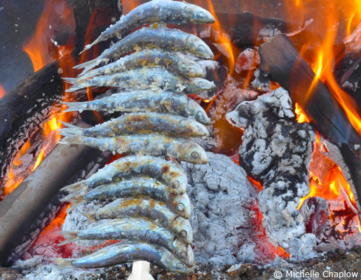 Espeto is a traditional way of cooking freshly-caught sea fish, most often sardines. © Michelle Chaplow