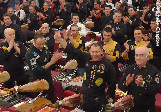 The ham carvers celebrate as they set a new world record © Michelle Chaplow .