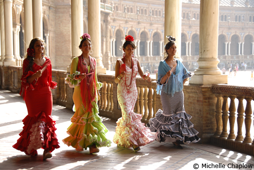 Flamenco outfits are a must for ladies at the Feria. © Michelle Chaplow