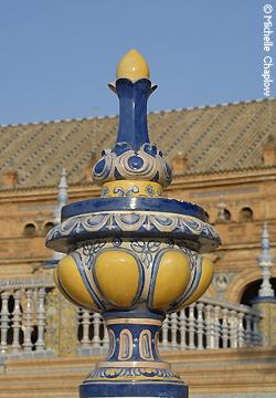 © Michelle Chaplow Brightly coloured ceramics showcased at the Plaza de Espana
