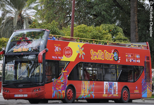 The tourist buses are an excellent way to orientate yourself around Seville. © Michelle Chaplow .