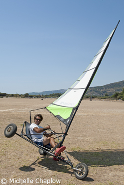 Trying out some landsailing tricks in Tarifa.  © Michelle Chaplow