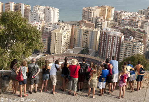 A view from the Gibralfaro over Malaga's bullring and port. © Michelle Chaplow .