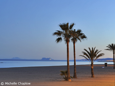 Sunset at the beach in Estepona. © Michelle Chaplow