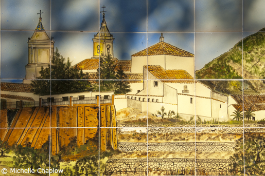 A hand painted ceramic image of Puerto Serrano. © Michelle Chaplow