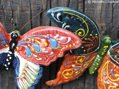 © Michelle Chaplow Hand painted Ceramic Butterflies.
