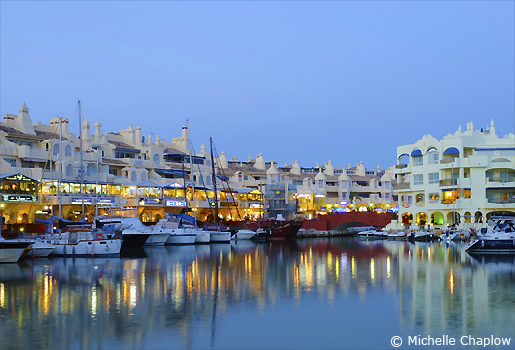 Benalmadena port by moonlight. © Michelle Chaplow