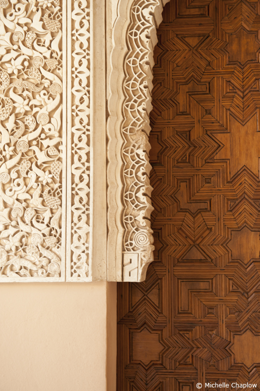 The hand crafted stone carvings and woodwork are a joy to view. Such a fine example of Muslim Architecture  © Michelle Chaplow .