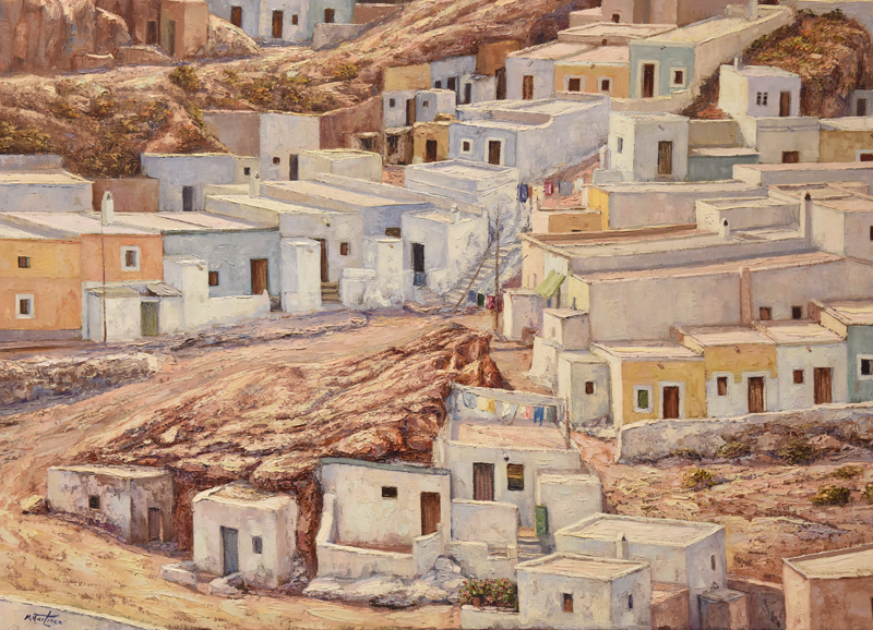La Chanca by Miguez Martinez Gomez. Oil on Canvas 1983. La Chanca is a district of Almeria city. ©Michelle Chaplow