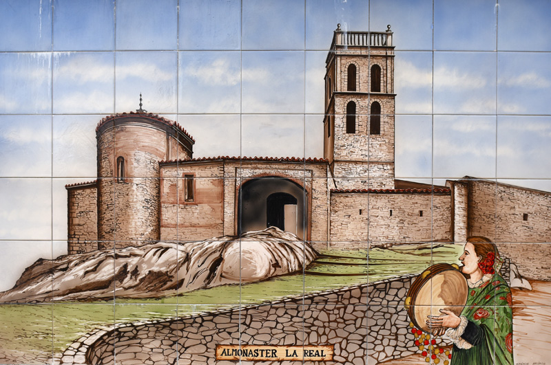 Almonaster de la sierra an artists impression in ceramic tiles by Barcarrota ©Barcarotta