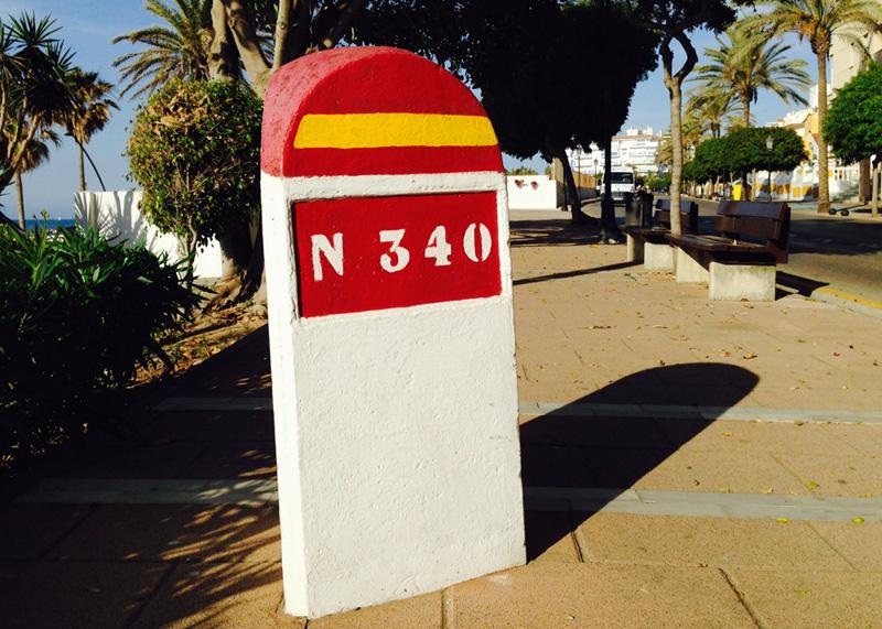 N340 restored km post on Avenida de España Estepona ©Barcley Spicer Jenkins