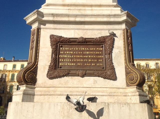 © Chris  Chaplow Plaque on the Obelisk in Plaza de la Merced