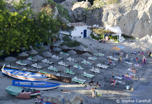 Playa Calahonda just beneath the Balcon de Europa has old fishermen's cottages built into the rock. © Sophie Carefull
