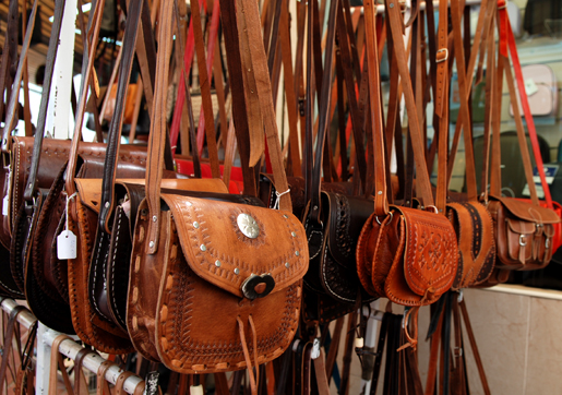 Lovely leather bags in Torremolinos. © Sophie Carefull
