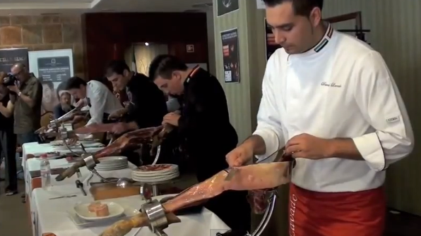 A 'Cortador de Jamon' at the annual competition