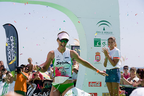 © Michelle Chaplow Inma Pereiro Gonzalez crossing the line in 1st place in the women's category