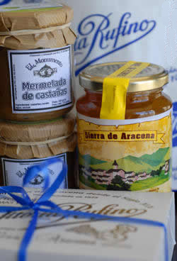 Honey, Chestnut Marmalade and confectionary from Rufino, all hand crafed in the Sierra de Aracena. © Michelle Chaplow